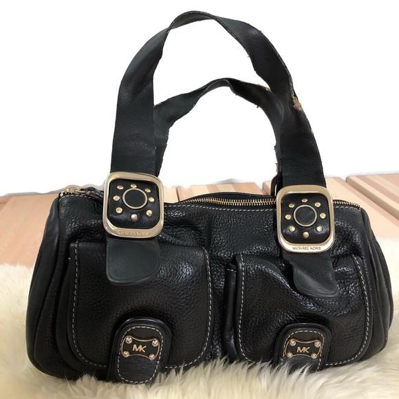 Michael Kors Handbags - Michael Kors Black Leather Gold Studded Handbag